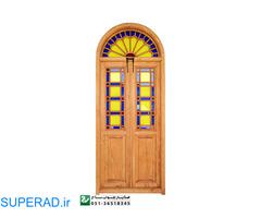 پنجره اُرُسی شیشه رنگی چوبی سنتی گره چینی مشبک