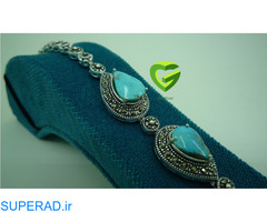 دستبند نقره فیروزه اشک کد 822